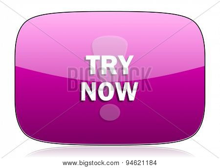 try now violet icon  original modern design for web and mobile app on white background with reflection