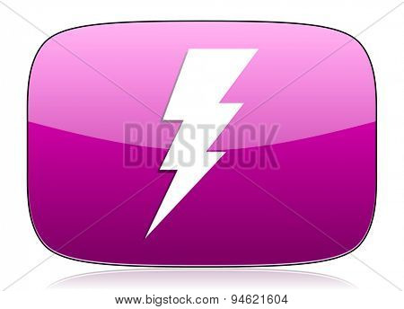 bolt violet icon flash sign original modern design for web and mobile app on white background with reflection