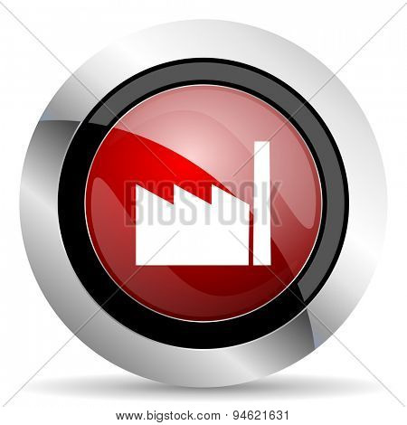 factory red glossy web icon original modern design for web and mobile app on white background