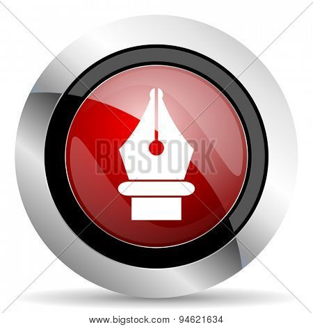 pen red glossy web icon original modern design for web and mobile app on white background