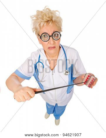 Mature funny doctor with pills and pointer isolated
