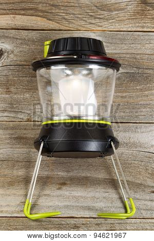 New Outdoor Battery Lantern On Rustic Wooden Boards