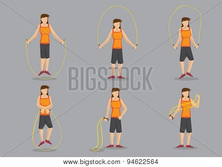 Sporty Woman Skipping Vector Character Illustration