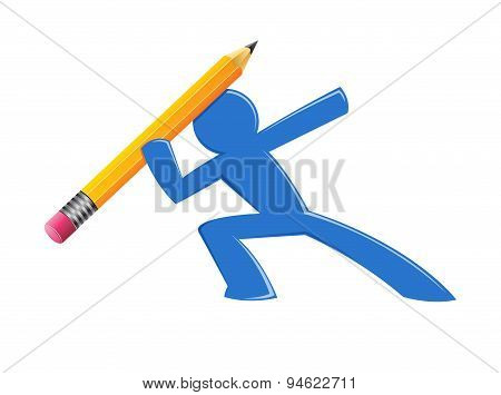 Man Figure Throwing Pencil