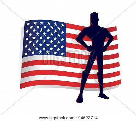 Man Standing Pride In Front Of America Flag