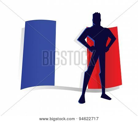 Man Standing Pride In Front Of France Flag