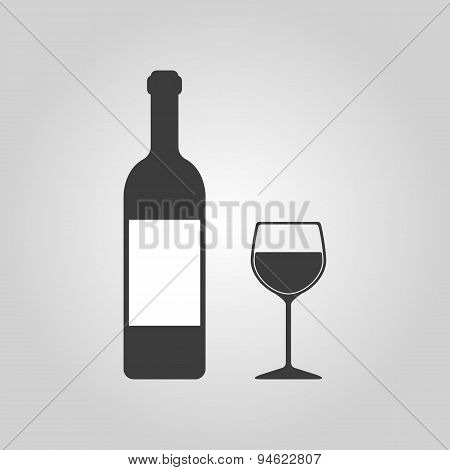 The Bottle Wine And A Glass Of Drink Icon.