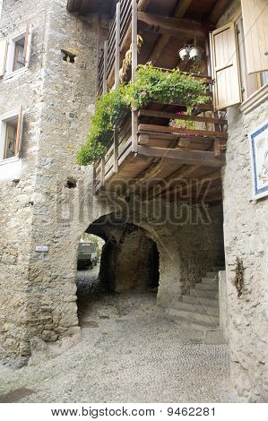 Medieval Italian Village Near Garda Lake