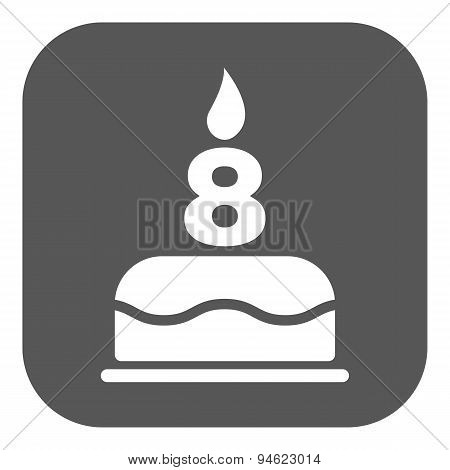 The Birthday Cake With Candles In The Form Of Number 8 Icon. Birthday Symbol. Flat