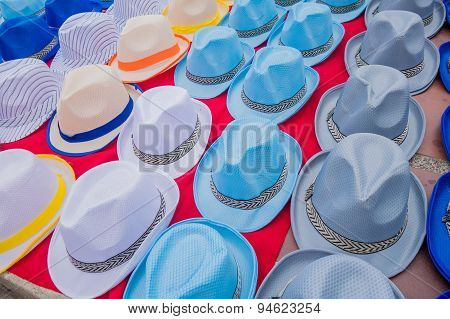 Traditional Colombian colorful straw hats from street vendors in Colombia's most important folklore