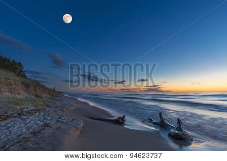 Lake Huron Beach At Twilight