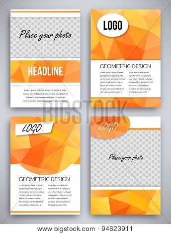Abstract big set of orange triangular geometric design brochure and flyer template, vector illustrat