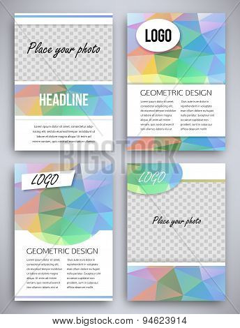 Abstract big set of multicolor or colorful triangular geometric design brochure and flyer template,