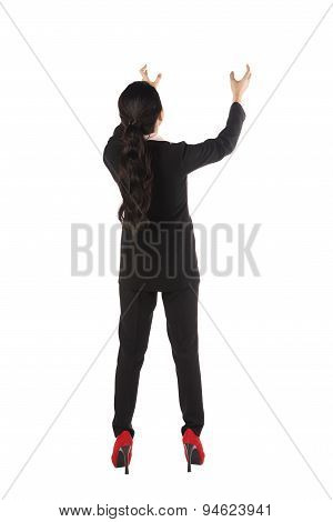 Asian Business Woman Holding Something