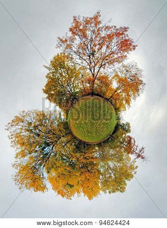 Autumn Little Planet - Globe With Forest