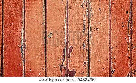 Old Wooden Door With Peeling Paint.
