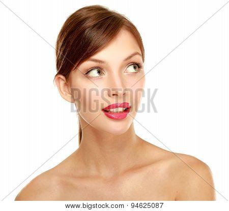 A beautiful woman, portrait isolated on white background