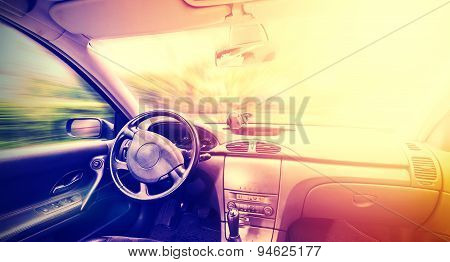 Vintage Toned Picture Of A Driving Car Interior, Space For Text.
