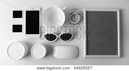 Essentials fashion woman objects on light background