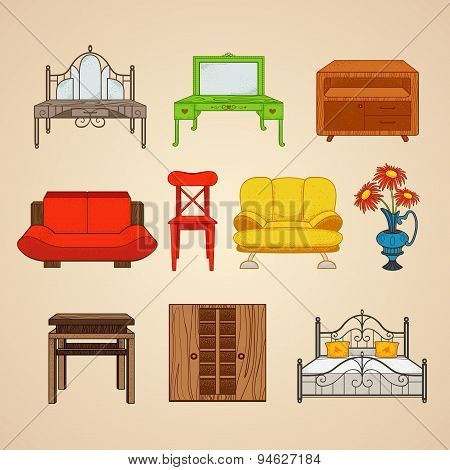 Set of ten illustrations furniture.