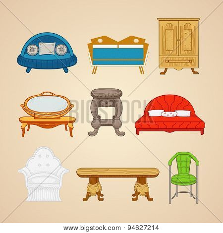 Set of illustrations of home furnishings on a beige background.