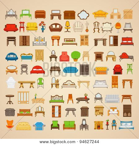 Set of eighty six illustrations furniture for home.