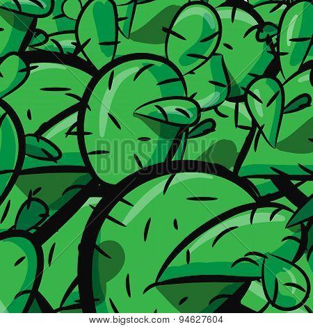 Cactus cacti plant texture seamless pattern vector background prickly pear close up.