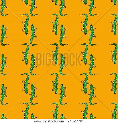 Funny green iguana Seamless pattern with cute animal on  background.