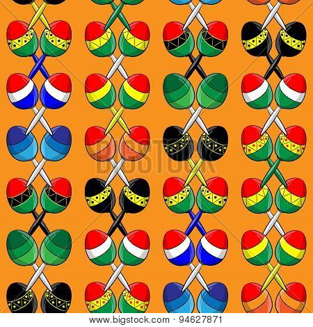 pattern of different Mexican maracas on an orange background