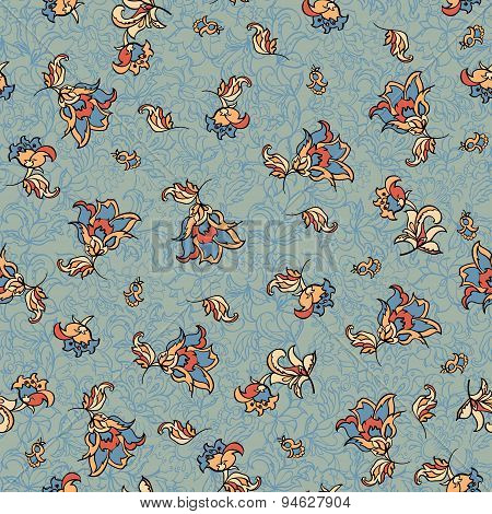 retro seamless floral pattern.