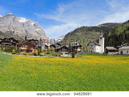Inden village in sunny day, canton of Valais, Switzerland.