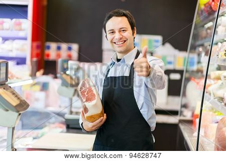 Smiling shopkeeper