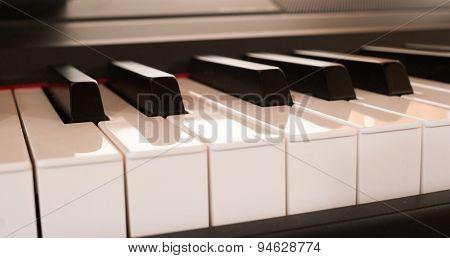 Close-up of a modern piano keyboard