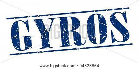 Gyros Blue Grunge Vintage Stamp Isolated On White Background