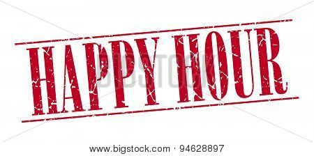 Happy Hour Red Grunge Vintage Stamp Isolated On White Background