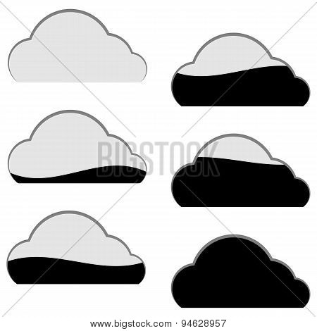 Cloud Computing Storage Icon Filled Part Portion Download Upload Set