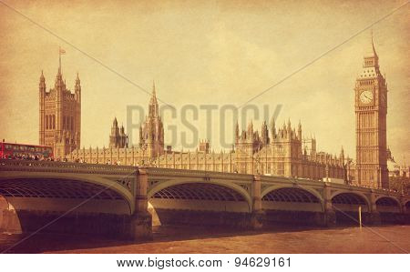 The Palace of Westminster, London, UK.  Added  paper texture.