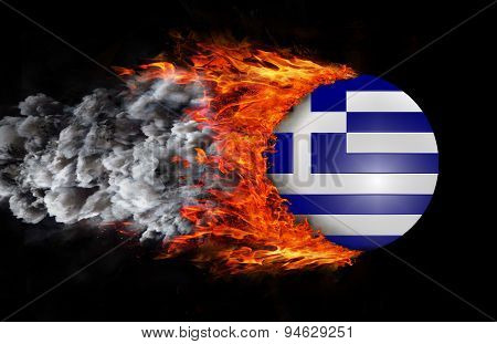 Flag With A Trail Of Fire And Smoke - Greece