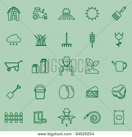 Farming Line Icons On Green Background
