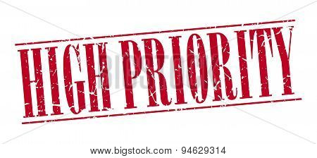 High Priority Red Grunge Vintage Stamp Isolated On White Background