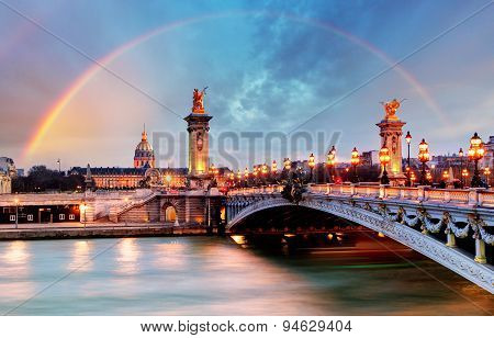Rainbow Over Alexandre Iii Bridge, Paris, France