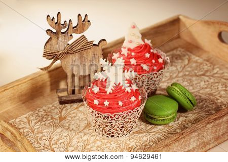Red Cupcakes And Green Macaroons