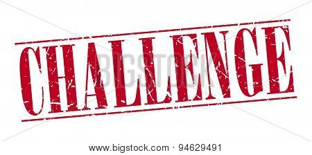 Challenge Red Grunge Vintage Stamp Isolated On White Background