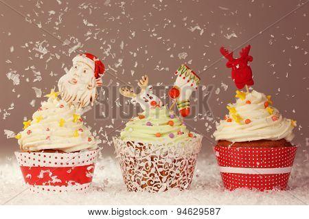 Three Christmas Cupcakes