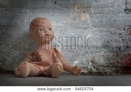 Concept Of Child Abuse - Bloody Doll