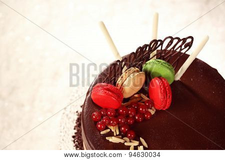 Chocolate Cake Decorated With Macaroons
