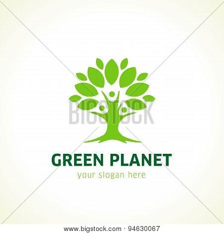 Green planet logo