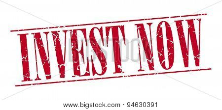 Invest Now Red Grunge Vintage Stamp Isolated On White Background