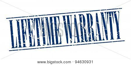 Lifetime Warranty Blue Grunge Vintage Stamp Isolated On White Background