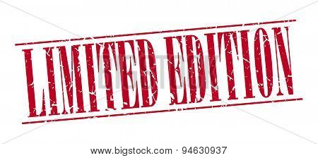Limited Edition Red Grunge Vintage Stamp Isolated On White Background